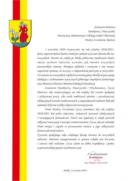 Życzenia Burmistrza Moniek z okazji rozpoczynającego się roku szkolnego 2020/2021