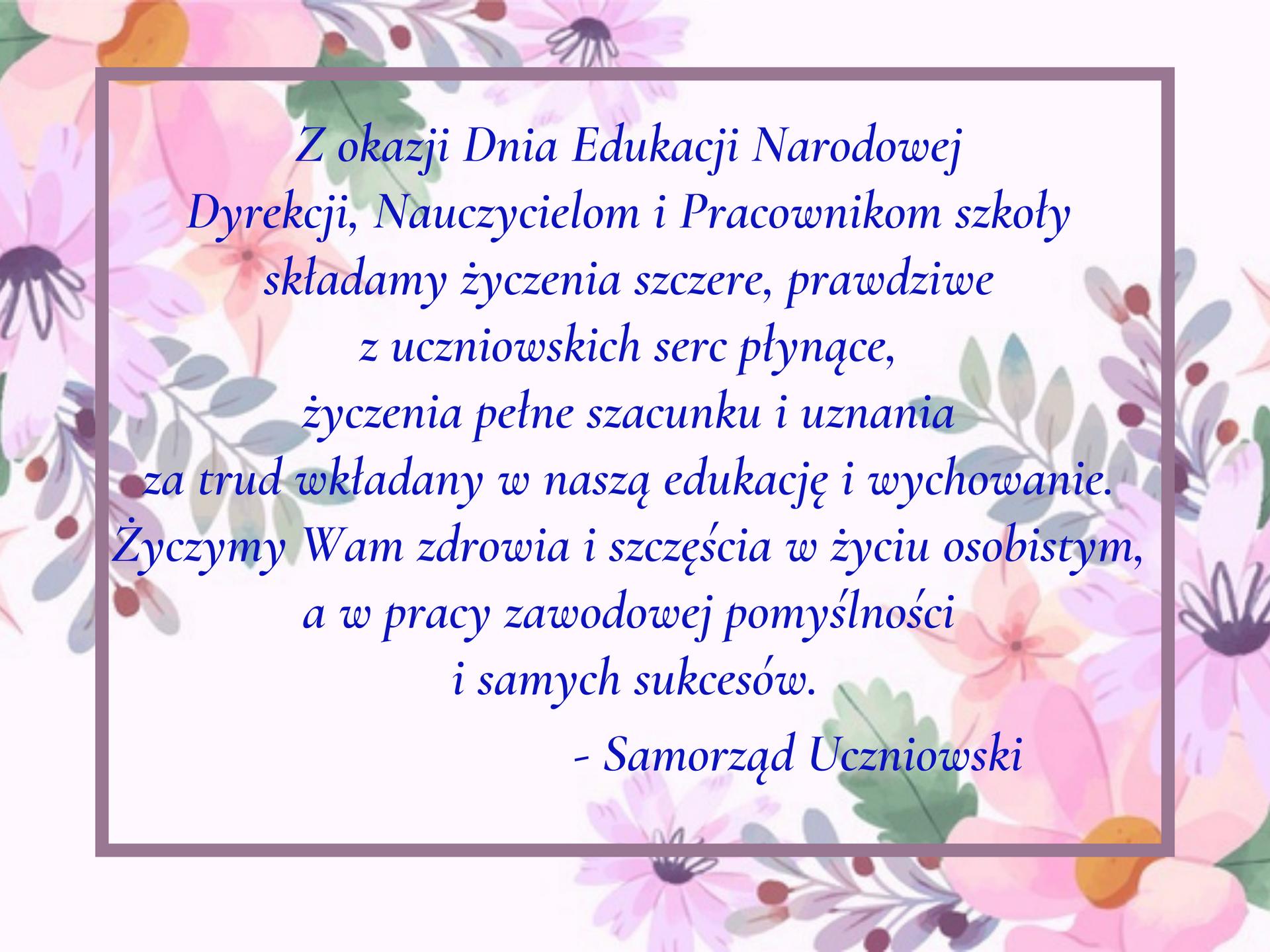 Życzenia z okazji Dnia Edukacji Narodowej od Samorządu Uczniowskiego